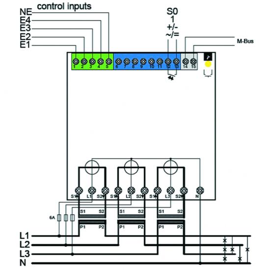 3-Phasen Energiezähler, Drehstromzähler, Direktanschluss 75A o ...